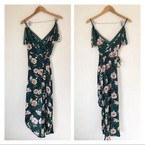 Forever 21 green floral wrap dress cold shoulder L